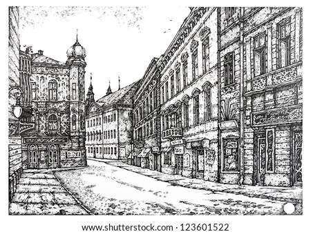 old streets of European cities. Graphic drawing pen