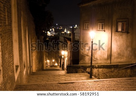 Old streets of Prague at night.