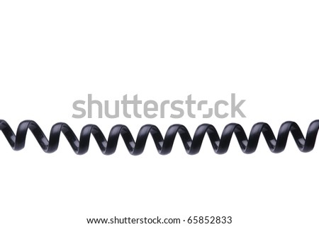Old style black phone wire isolated on white background