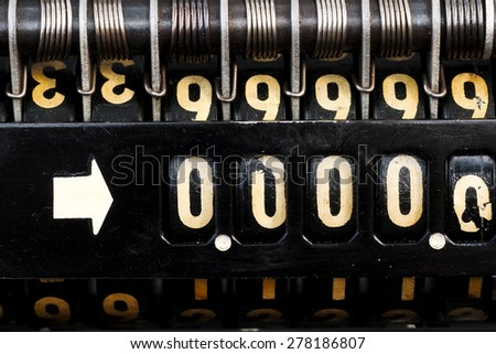 old  style cash register with  numbers 00000 crisis  close up #278186807