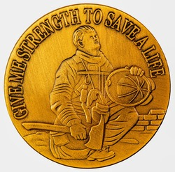 Old style commemorative coin, American Fireman's prayer Give me Strength to Save a Life.
