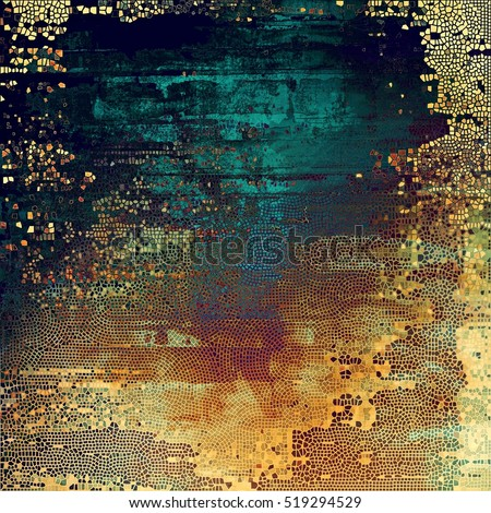 Old-style dirty background with textured vintage elements and different color patterns: yellow (beige); brown; blue; red (orange); purple (violet); cyan