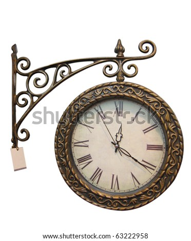 Old style hanging clock with