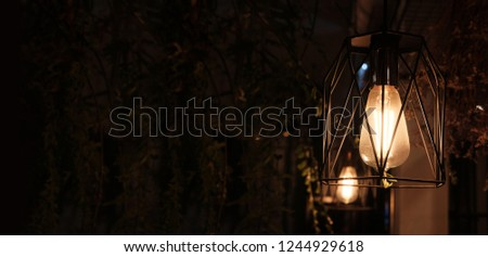 old style Incandescent bulbs, vintage panorama background concept.