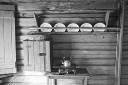 Old style kitchen in wooden home