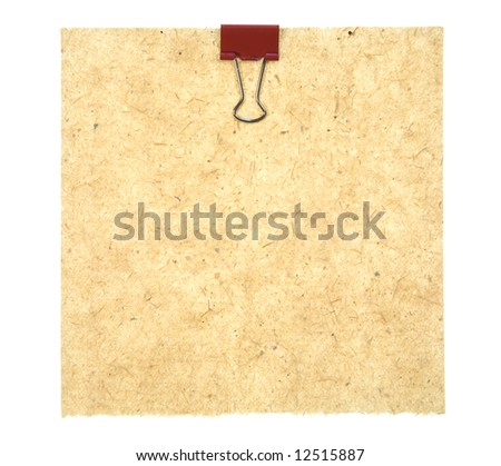 Old Style Paper With Red Metal Clip Isolated On White