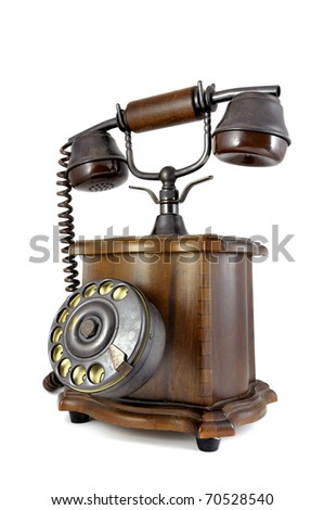 Old style phone isolated in white - stock photo