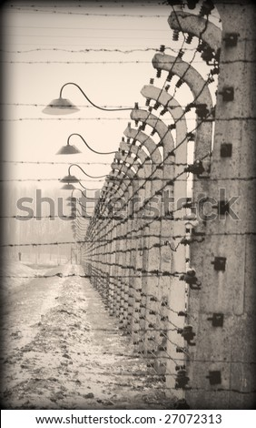 Old style photo of the Auschwitz camp