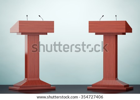 Old Style Photo. Wooden Podium Tribune Rostrum Stands with Microphones on the floor Stock photo ©