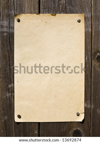 Old Style Retro Paper On Wooden Wall. Ready For Your Message.
