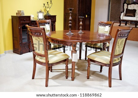 old style table chairs furniture