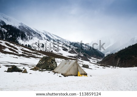 Old style tent on snow mountain in Sonamarg , Kashmir - India