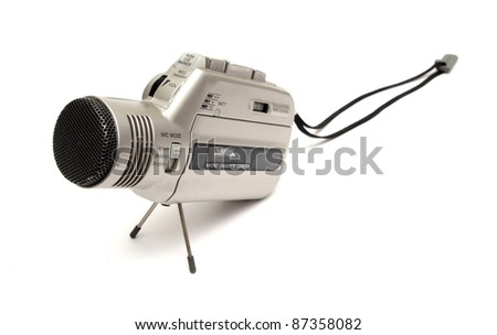 old style voice recorder over white