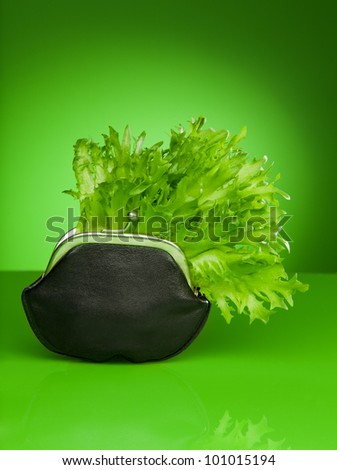 old style wallet with lettuce inside as a symbol of freshness and new saving
