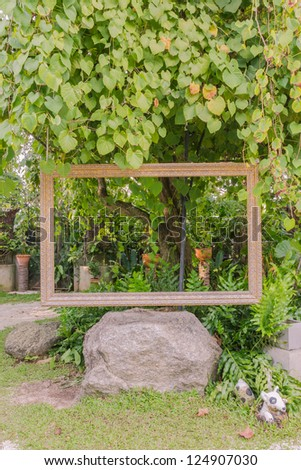 Old style window frame for shooting in garden, Phuket, Thailand