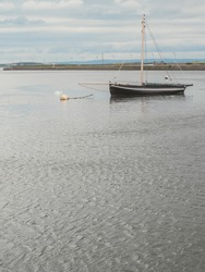Old style wooden boat in Galway bay, Fine example of old craftsmanship and tradition.