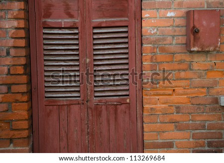 Old style wooden door closed.