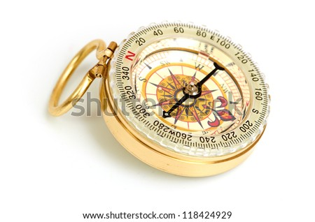 old styled, gold compass