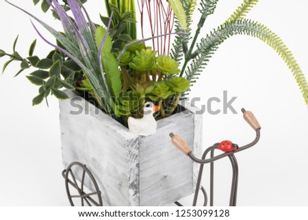 Old styled tricycle decorative decorative floral ornamental wonderful background stands on white background. #1253099128