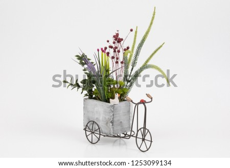 Old styled tricycle decorative decorative floral ornamental wonderful background stands on white background. #1253099134
