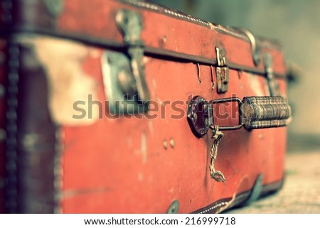 old stylish brown suitcase