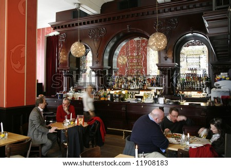 Old stylish cafe -  Berlin, Germany. Motion blur - long exposure.