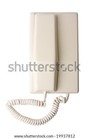 Old stylish telephone isolated on white with clipping path - stock photo