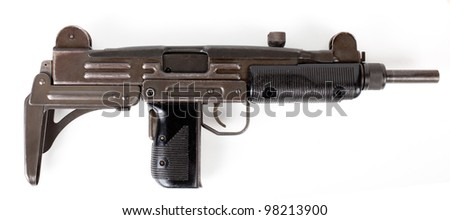 old  submachine gun isolated on white background