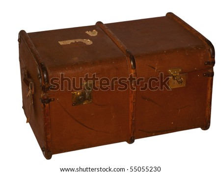 Old suitcase, closed and isolated on background