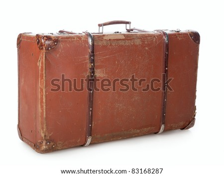 Old suitcase for traveling on a white background