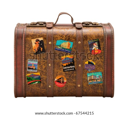 Old Suitcase Travel Stickers isolated  with a clipping path Stock photo ©