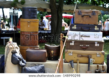 old suitcases at a flea market