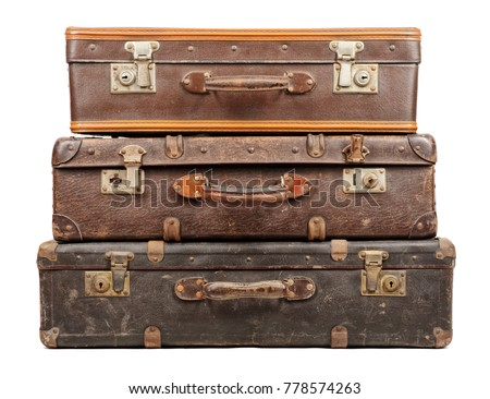 Old suitcases isolated on white background Stock photo ©