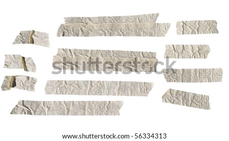 Old sun dried masking tape isolated on white