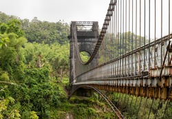 Old Suspension bridge near Saint-Benoit at East Coast of La Reunion