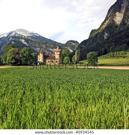 Old swiss castle in the country surrounded by planted fields, forests and mountains