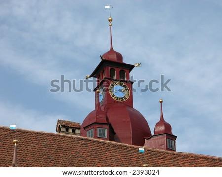 Old Swiss Church Clock Tower in Lucerne, Switzerland