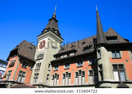 Old swiss style building, Geneva, Switzerland