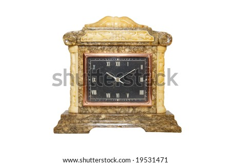 Old table clock isolated on white.