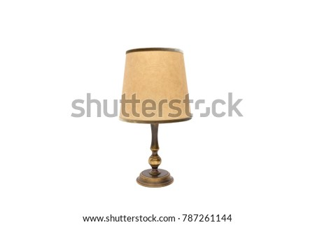 old table lamp with lampshade - Shutterstock ID 787261144