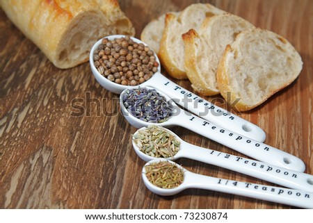 Old table-top selection of herbs and grains in measuring spoons