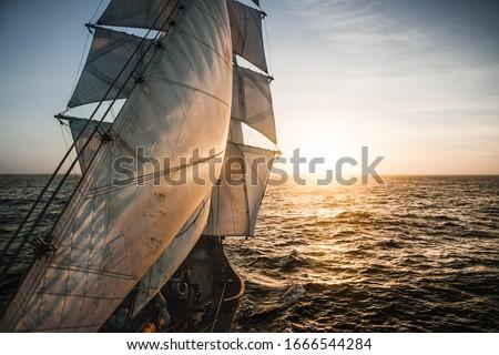 Old tall ship sails backlit Stockfoto ©