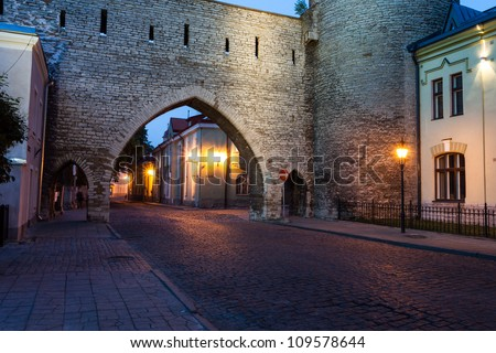 Old Tallinn city wall at night
