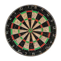 Old target dartboard isolate on white background.