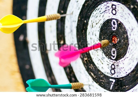Old target of darts. Get a bull\'s eye. Focus on center of target.
