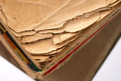 Old tattered books. Sheets of old books