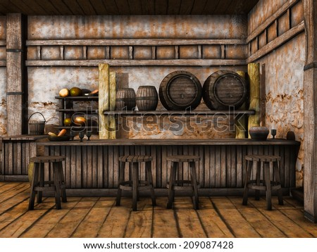 Old tavern counter with wooden stools and barrels