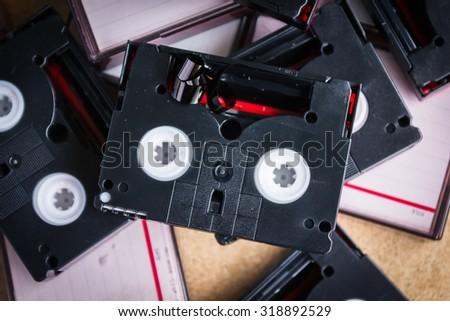old technology mini DV tape recording