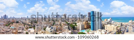 Old Tel-Aviv town summer coast panoramic view (Israel)