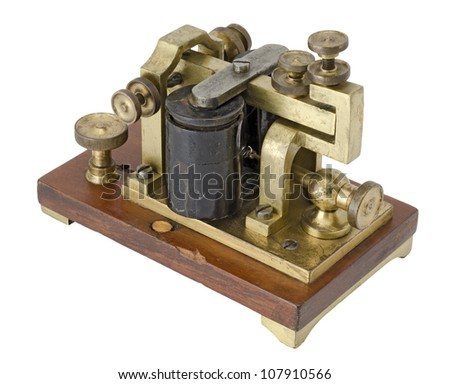 Old telegraph receiver isolated on white